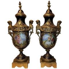 Pair of Large Royal Cobalt Blue Sèvres Porcelain & Bronze Mounted Covered Vases