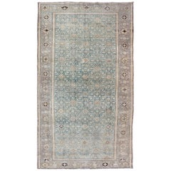 Light Blue and Cream Antique Persian Malayer Gallery Rug with All-Over Design