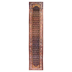 Long Tribal Antique Persian Malayer Runner in Blue, Red, Green, Ivory