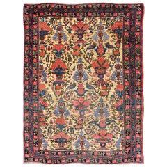 Floral Design Antique Persian Afshar Rug in Multicolored Tones