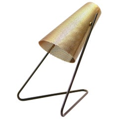 V-Lite-Brass Table Lamp or Wall Sconce with Perforated Shade and Copper Legs
