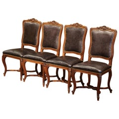 19th Century French Louis XV Carved Walnut Chairs with Leather, Set of Four