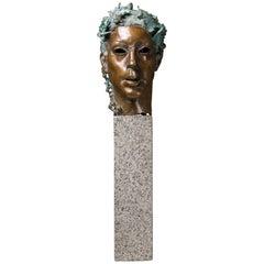 """Bronze Sculpture Bust Called """"Antique Portrait"""""""
