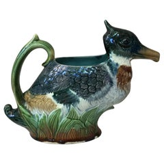 Majolica Duck Pitcher Orchies, circa 1890