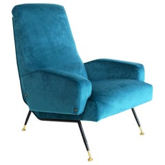 Italian Midcentury Armchair in Petrol Velvet and Brass, 1950s