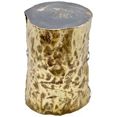 "Dal Furlo ""Metal tree"" Side Table in Hammered Brass and Resin"