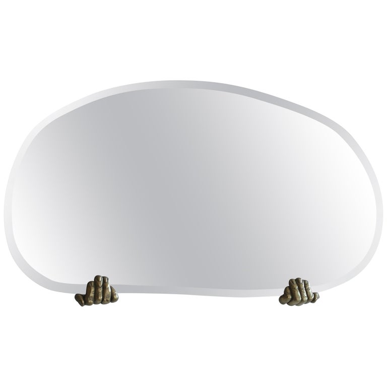 """Dal Furlo """"Handle Wallmirror"""" Stainless Steel and Brass Wall Mirror For Sale"""