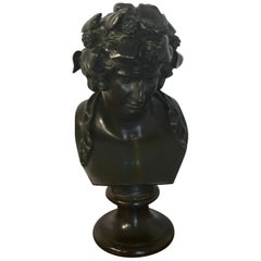 Bronze Bust of Young Bacchus, Attributed to F. Barbedienne
