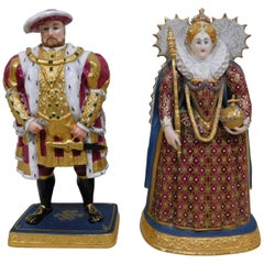 English Royal Worcester Henry VIII and Elizabeth I Porcelain Bone China Figurine