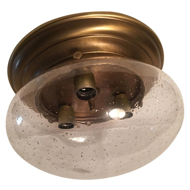 Glass Domed Brass Flush Mount from Germany For Sale