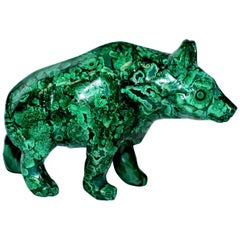 Malachite Bear Sculpture, 2 Lb All Natural 1st Grade