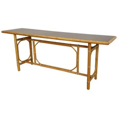 McGuire Bamboo and Leather Console Table