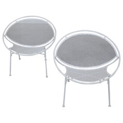 Pair of White Salterini Radar/Hoop Chairs by Maurizio Tempestini, Restored