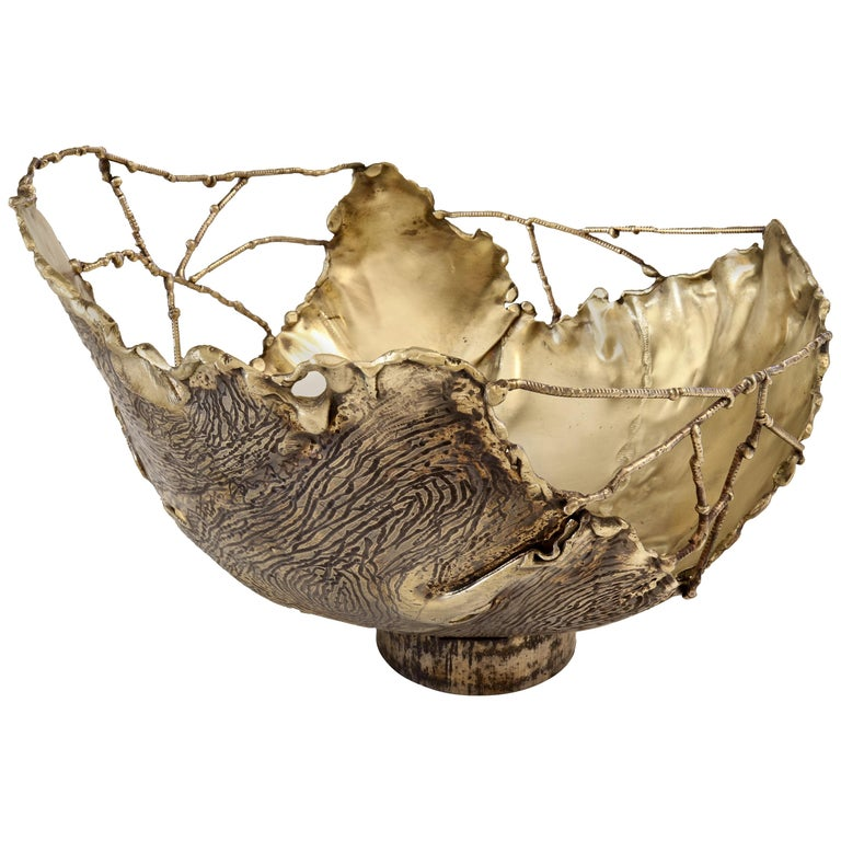 "Dal Furlo ""Bark Bowl"" Cylindrical Modern Brass Bowl For Sale"