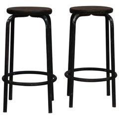 Old Industrial Work Stool, Italy 1930s, Set of 2