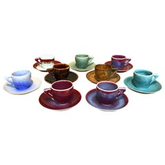 Set of Japanese Hand-Glazed Porcelain Demitasse Cups & Saucers by Master Artist