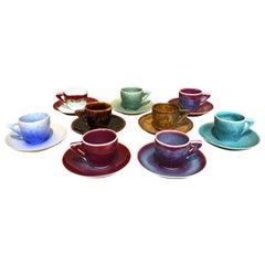 Set of Japanese Hand-Glazed Porcelain Espresso Cups & Saucers by Master Artist