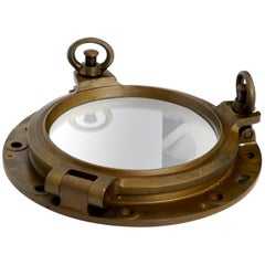 Genuine Old Brass Ship's Porthole Wall Mirror Heavy and Solid Construction