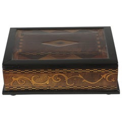 19th Century Casket, Marquetry with Nutwood and Rosewood, Mirrored Lid