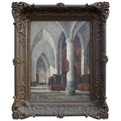 Antique and Unique Gothic Church Interior Painting in a Stunning Mid-1800s Frame