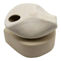 Small Curved Form with Hip and Plinth, Stoneware and Porcelain Slip Sculpture