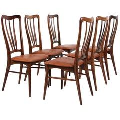 """Set of Six Niels Koefoed """"Ingrid"""" Dining Chairs in Rosewood"""