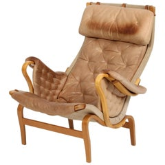 Bruno Mathsson Pernilla Lounge Chair with Nature Leather Cushions