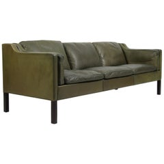 Børge Mogensen Three-Seater Sofa in Original Green Leather