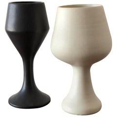 Two Interesting Black and White Ceramic Vases