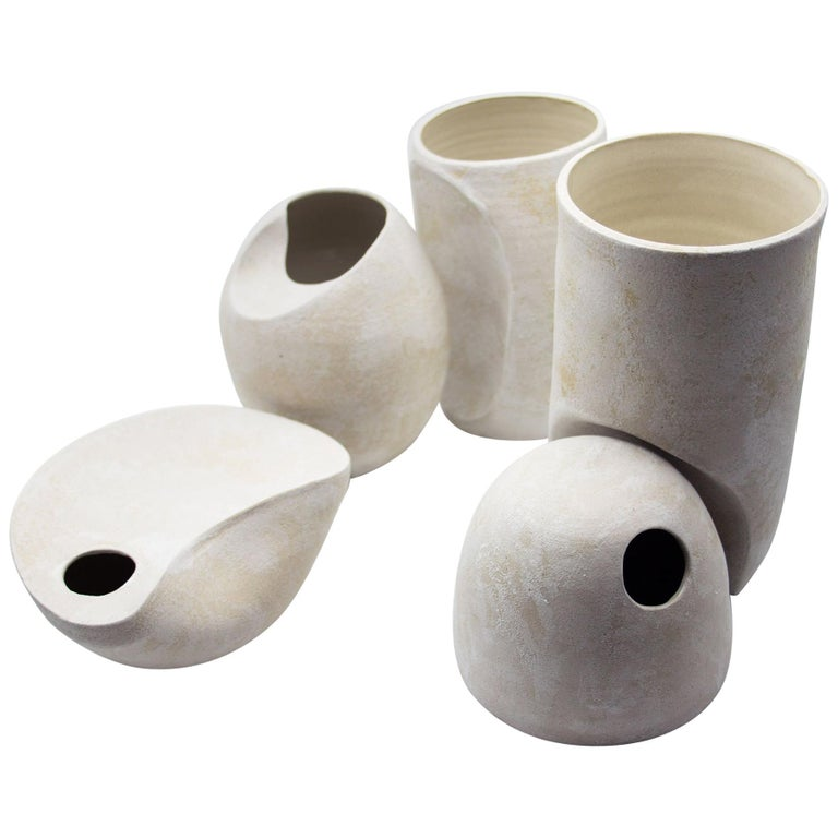 Set of Modern, Minimal Ceramic Sculptural Vases and Objects in Stoneware
