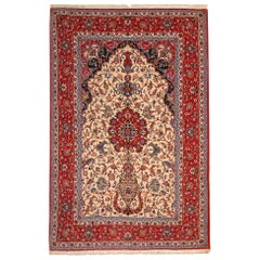 Vintage Persian Rug , Silk Rug from Isfahan, Cream Rugs for Sale