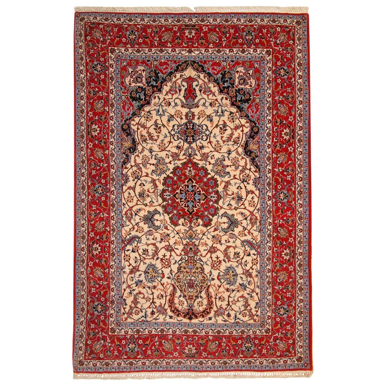 Vintage Persian Rug Silk Rug From Isfahan Cream Rugs For Sale For