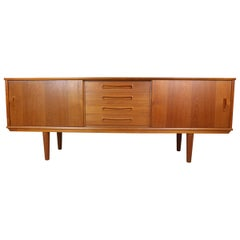 Danish Teak Sideboard, Sliding Doors, 1960s