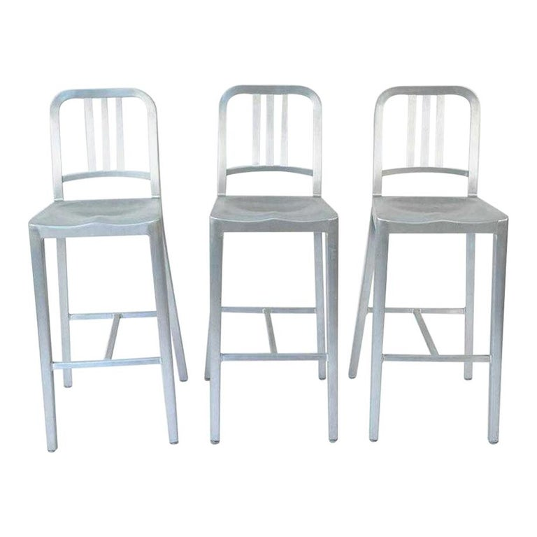 Three Emeco Bar Stools For Sale