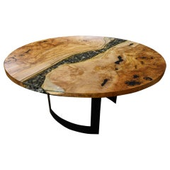 Round RiverRun, Live Edge Dining Table in Character Grade Maple, Glass Feature