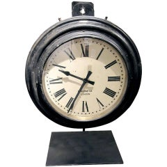 Spectacular Monumental English Railroad Station Clock On Custom Iron Stand.