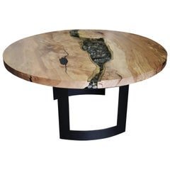 Round RiverRun, Live Edge Dining Table in Character Grade Maple W/ Glass