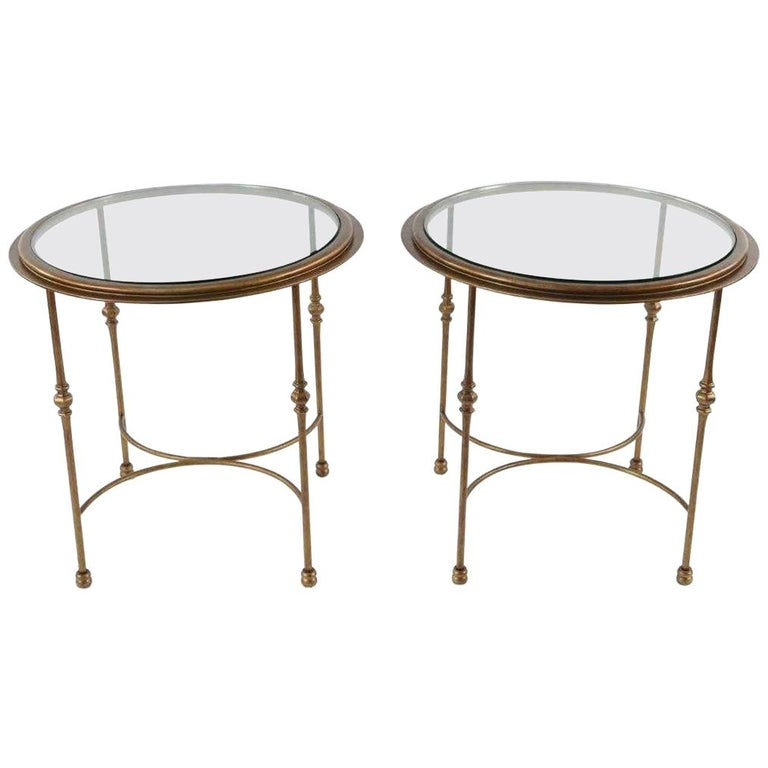 Pair of Maison Jansen Style Round Glass and Bronzed Metal Side Tables For Sale
