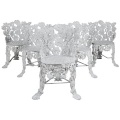 5 Victorian White Painted Cast Iron Grape and Leaf Garden Chairs, 20th Century