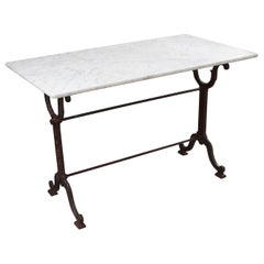 French Early 20th Century Marble-Top Garden Table