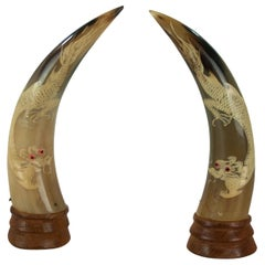 Chinese Hand Carved Horn with Dragon