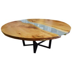 Round RiverRun, Live Edge Dining Table in Character Grade Maple with Blue Glass