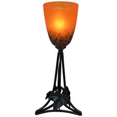 French Wrought Iron and Blown Glass Table Lamp 2