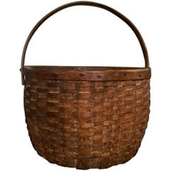 19th Century New England Large Swing Handled Harvest Basket