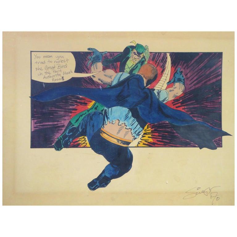 Green Arrow and Manhunter, 1970 DC Comics Superhero Painting Ink Watercolor