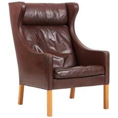 Børge Mogensen Wing Back Chair in Brown Original Leather, Model 2204