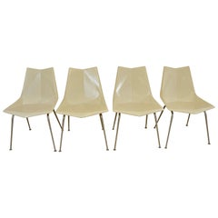 Four Paul McCobb Cream Fiberglass & Steel Origami Space Age Chairs St. John N.Y