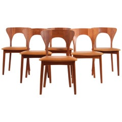 "Set of Six Niels Koefoed ""Peter"" Dining Chairs Teak and Aniline Leather"