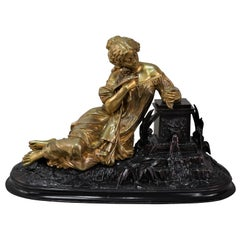 French, 19th Century Woman Reading a Love Letter Bronze