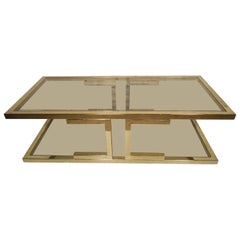 Large Mid-Century Brass Color Glass Coffee Table